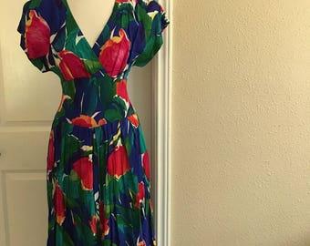 Vintage Blue And Pink TULIP Dress With POCKETS / Wide Cummerbund / Floral Garden Dress / R.E.O. Originals / Womens Size Small