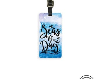 Luggage Tag Seas The Day Watercolor Ocean  Metal Luggage Tag With Printed Custom Info On Back,  Choice of Straps