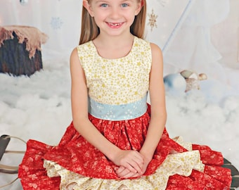 Girl Christmas Dress - Girls Holiday Dress - Ruffle Dress - Red Gold Dress - Festive Dress - Fancy Frock - Dress for Pictures - Party Dress