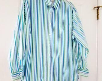 Vintage Womens Blouse Shirt Moda Int'l Long Sleeve Stripe Button Up Cotton Large 1980s