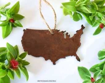 USA Rusty Metal Ornament / United States of America Ornament / Christmas Ornament / Light Pull / USA Yard Art / Holiday Ornament
