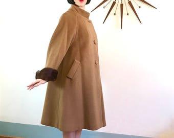 Lilli Ann Paris coat, 1950s swing coat, Long Wool Coat, Vintage 60s coat, Fur Trim Coat, Brown Wool Coat, 1960s wool coat, Womens 50s Coat