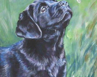 "Labrador retriever art canvas PRINT of LAShepard painting 8x10"" BLACK LAB puppy dog portrait"