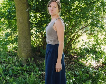 Womens Jersey Knit Cotton Maxi Skirt - Made in the USA - Organic - Made to Order - Lark