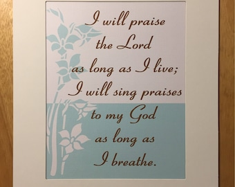 AS LONG As I BREATHE Christian Home & Office Decor Matted Psalm Bible Verse Wall Art Vintage Verses Inspirational Art Teal Brown White Sale