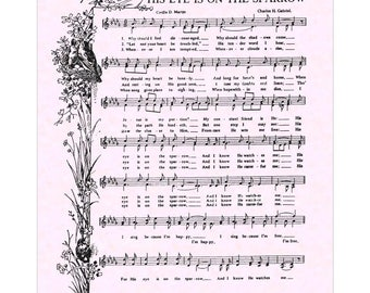 His Eye Is On The Sparrow Hymn - Hymn Wall Art Christian Home & Office Decor Vintage Verses Sheet Music Wall Art Inspirational Art Sale
