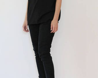 Black shirt, Handmade t shirt, hand printed shirt, printed black T
