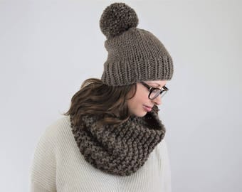 Knit Hat and Cowl Set
