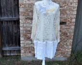 Altered Women's Pale Creme and White Lace Tunic, Satin and lace bottom, Altered Couture, Extra Large, Shabby Chic, Romantic Long Blouse