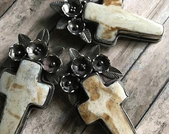 Ornate White Bone Cross Pendant, Bone Cross, Cross, Cross, Floral Cross, Nepal, Cross Pendant, Pendant, Bone Pendant