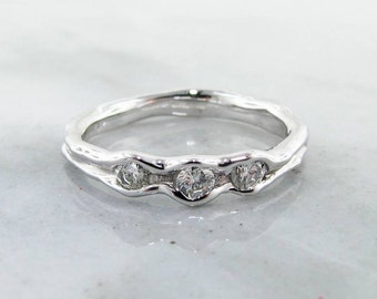 White gold Diamond Band, Three Stone Melted Metal Design