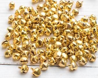 Gold  Bells, 100 pcs, 7mm,  Ankle  Bells, Dancing Bells, Bells,   Christmas  Bells -B374
