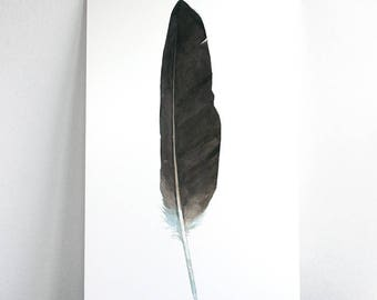 Original Watercolor Feather, Large Bald Eagle feather painting