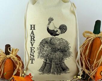 Feed Sack, Reproduction Flour Sack, Prim Decor, Fall Harvest Feed Sack, Muslin Bag, Vintage Feed Sack, Cotton Sack, Harvest Rooster Sack