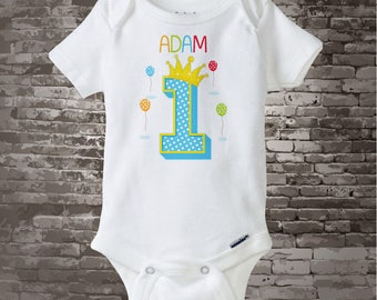 1st birthday Onesie or Shirt | Boy's One Year Old Birthday Shirt or Onesie with Name | 1st Birthday Shirt | Personalized dot 1 (04102017e)