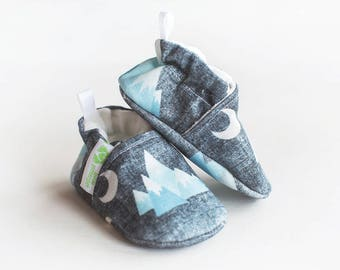 Organic Knits Vegan Blue Mountains / All Fabric Soft Sole Baby Shoes / Made to Order