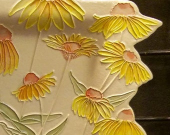 Golden Coneflowers XL Ceramic-Watercolor Wall Hanging sculpture by Faith Ann Originals