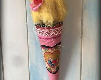 Mohair Chick, artist teddy bear, Easter spring decor, primitive antiques, handmade dolls, artist gifts ~ Brady Bears Studio