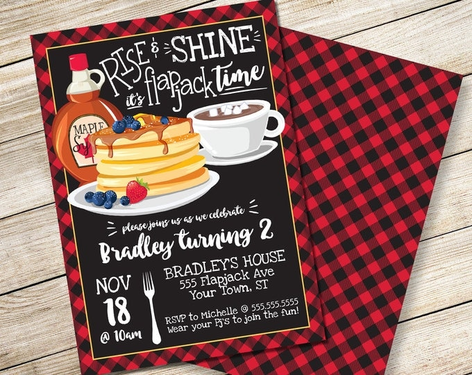 Rise & Shine It's Flapjack Time Invitation - Lumberjack Flapjack Flannel, Flapjack Party | DIY Editable Text INSTANT DOWNLOAD Printable