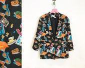 Vintage 1980s-90s 100% Silk Oversized Novelty Vacation Print Blazer