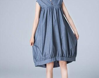 linen dress, blue dress, kaftan dress, loose fitting dress, casual dress, tunic dress, womens dresses, high low dress, summer dress 1785