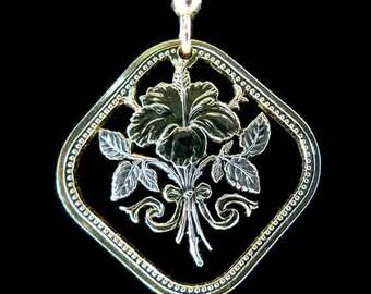 Cut Coin Jewelry - Earrings - Bahamas - Hibiscus