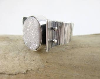 White Sparkly Druzy Quartz Sterling Silver Ring