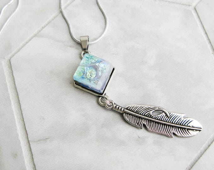 southwestern jewelry, silver feather charm necklace, western style, cowgirl jewelry, dichroic glass, turquoise aura glass necklace