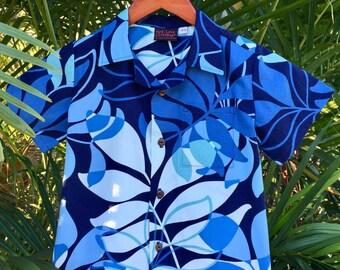 Boys Hawaiian Aloha Shirt Made in Hawaii Blue Kaiolohia 6mo to 11/12