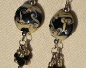 Lampwork Glass and Swarovski Crystals Earrings, Black and Ivory, Black Swarovski Crystals, Black Swirls Lampwork Beads, Handmade Earrings