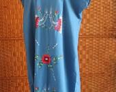 Women's Blue Embroidered Mumu, Dark Blue Mexican Embroidered Dress