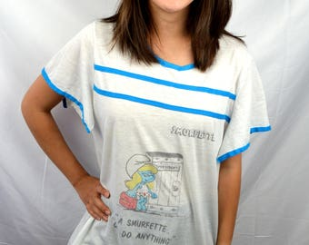 Vintage 80s Smurf Ringer Smurfette Long Nightie Night Tshirt Tee Shirt