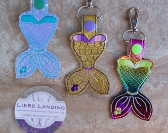 Mermaid Keychain - Mermaid backpack tag - Mermaid party favors - Mermaid Tail - Mermaid birthday party Vinyl