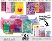 Printable Traveler's Notebook Scripture Insert - Pockets & Tags - bible journaling, faith art journal, scrapbooking, junk journal, planner