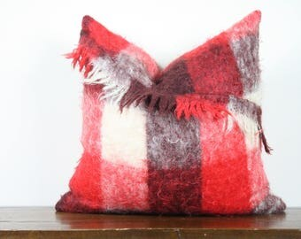 "20""x20"" Red and Cream Check Vintage Mohair Pillow Cover with Fringe Detail 