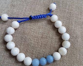 Angelite and shell Macrame bracelet