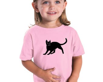 Youth Cat Shirt, Cat Tshirts For Toddlers, Kids Clothing, Cotton Crewneck Tshirt, Short Sleeved, Hand Screenprinted, Black Cat Graphic Tee
