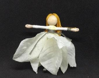 Christmas Fairy - Sparkling White Poinsettia Fairy - Waldorf Flower Fairy Doll - Christmas ornament