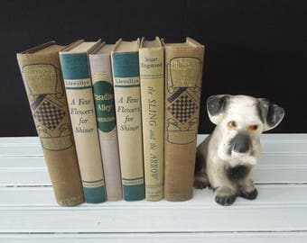 Moss Green, Teal & Beige Book Stack - Books for Decor - Home Decoration Six Vintage Books - Instant Library - Bookshelf Decor