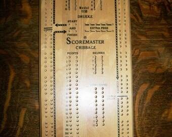 Vintage Scoremaster Cribbage Board