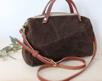 SOPHIE Barrel bag suede leather crossbody