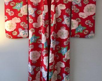 1920s Delicate SILK KIMONO BOHO Japanese Floral Pattern