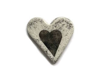 Heart Magnet / Rustic Large Magnet / White Wash Heart / Heart Magnet / Valentine Heart / Valentine Gift