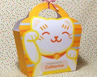 Kawaii Yellow Lucky Cat Giftbag Cute Love Manekineko Neko Birthday Party Treat basket Bag Packaging Editable Printable PDF