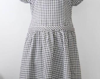 Vintage Cotton Day Dress Large • Mid Century Black and White Short Sleeve Dress • Black Gingham Check Cotton Dress