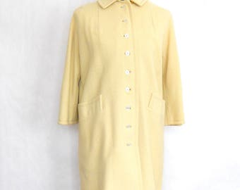 Vintage Yellow Coat • 1960's Yellow Cloth Coat • Simple Modern Spring Coat