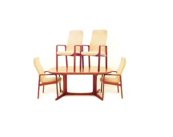 Vintage Dyrlund Dining Table and Chairs In Teak