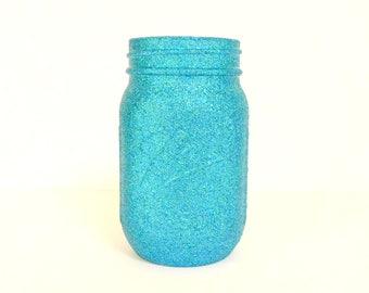 Blue Green Blend Glittered Pint Mason Jar, Flower Vase, Wedding Decoration, Makeup Brush Holder, Pen and Pencil Holder
