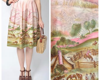 Vintage 1950's John Wolfe Western Corral Novelty Print Skirt/ 50's Scenic Border Print Cotton Skirt Size Small