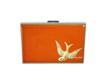 Swooping Bird RFID Metal Wallet with Card Organizer Inlaid in Hand Painted Orange Opaque  Enamel with Color and Personalized Options